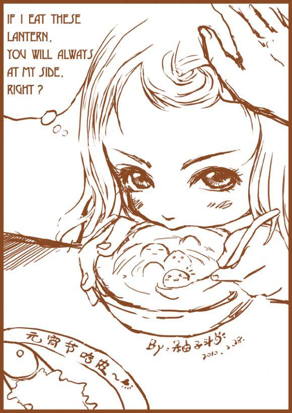 手绘灯笼漫画图片