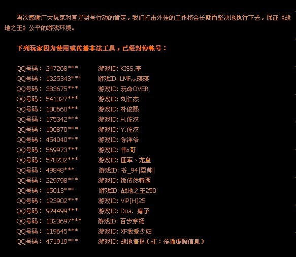 ava战地之王所有被抓使用外挂删号人员名单