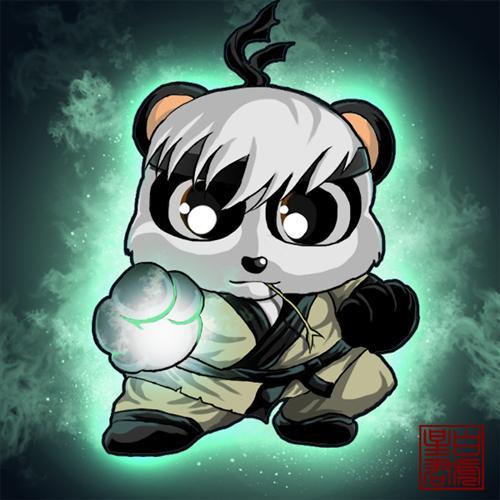 天翼决玩家手绘q版英雄熊猫