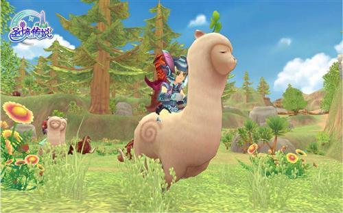 故事的主人公——一名少女牵着自己的可爱羊驼走在街道上,好奇地看着