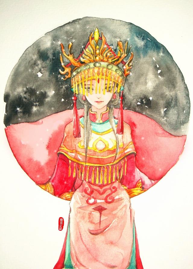 【玩家手绘】水彩卡片系列:青丝朱颜之流萤红绫