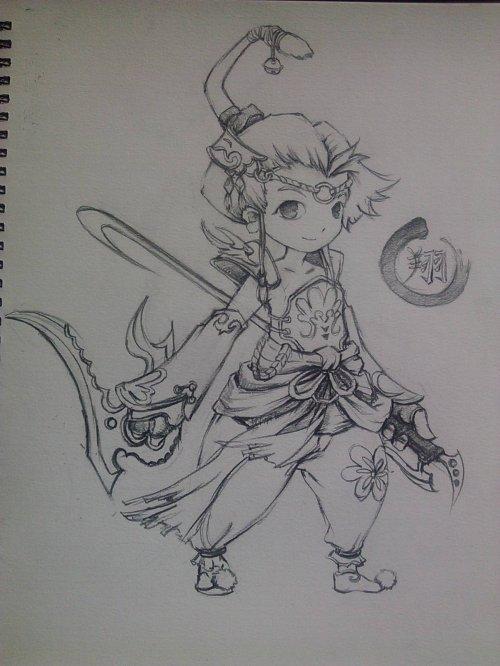 心情故事 玩家素描手绘作品之桃园『女刺客』