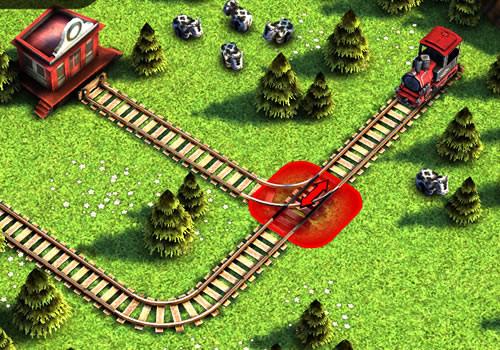 游戏中,小火车马上就要驶进火车站了,玩家得正确的挑战铁轨,让小火车
