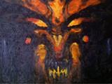 暗黑3油画作品:迪亚布罗头像的油画