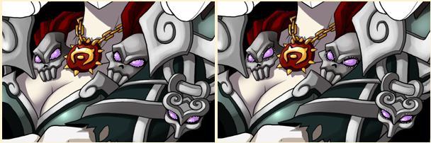 骷髅上的眼睛高光的画法:和盔甲的差不多,先画好基本色,然后选区,然后